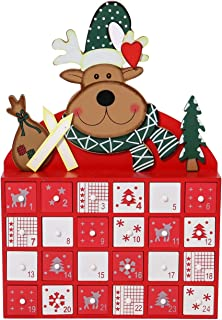 Sunnyglade Christmas Wooden Advent Calendar with LED Lighted 24 Day Countdown Cute Holiday Decoration (White) (Red)