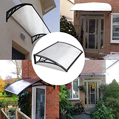 WMMING Window Door Canopy, Engineering Plastic Bracket Safe and Windproof UV Protection, for Outdoor Windows Porches Balconie