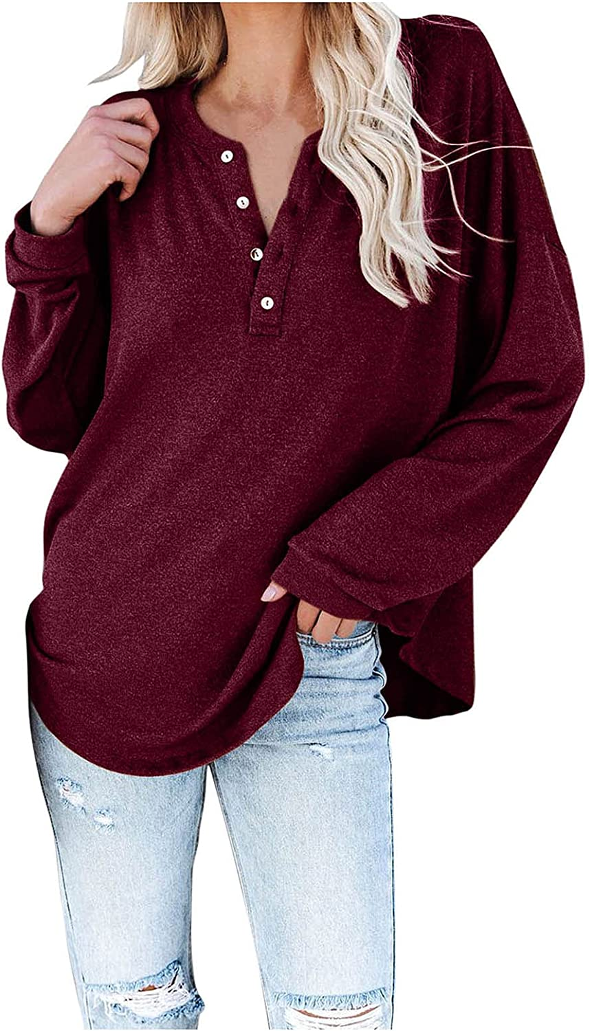 Women's Summer Solid Color Chicago Mall SEAL limited product Long Sleeve Down Shirts Neck V Button