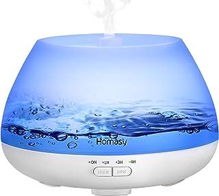 Homasy Difusor de Aceites Esenciales con Vapor Frío, Ambientador, Mini Humidificador, Blanco, 500 ml