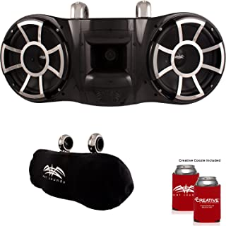 Wet Sounds REV 410 Fixed Clamp Tower Speakers with Wet Sounds Suitz speaker Covers - BLACK