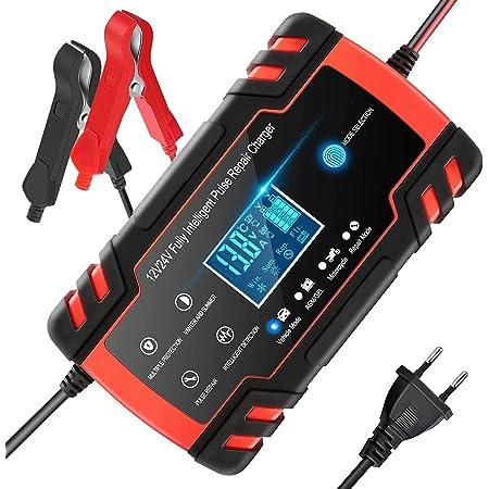 Chargeur de Batterie Intelligent 12V/24V 8A, Chargeur Batterie Mainteneur et Automatique Réparation Fonction Portable avec Écran LCD, pour Voiture Moto Camion, AGM, Gel, Wet, SLA(8-100AH)