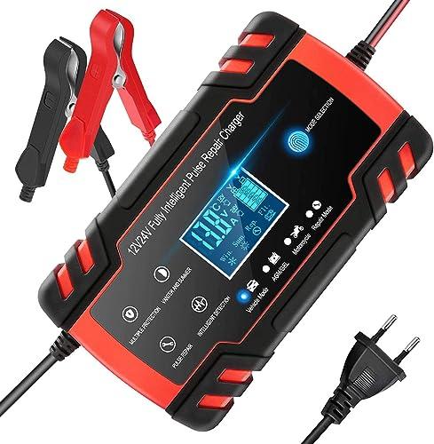 Chargeur de Batterie Intelligent 12V/24V 8A, Chargeur Batterie Mainteneur et Automatique Réparation Fonction Portable...