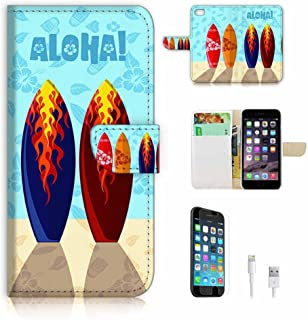 (For iPhone 8 Plus/iPhone 7 Plus) Flip Wallet Case Cover & Screen Protector & Charging Cable Bundle! A8018 Surf Board
