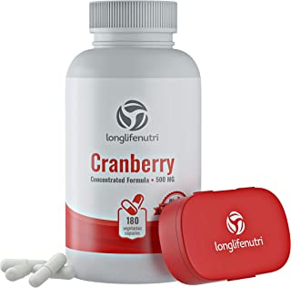Cranberry 500mg 180 Vegetarian Capsules   Urinary Tract Infection UTI   Pure Fruit Concentrate Extract 25,000 mg   Plus Vi...