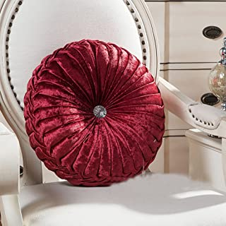 Zituop Home Decorative Round Pumpkin Throw Pillows, 13.8-inch (wine red)