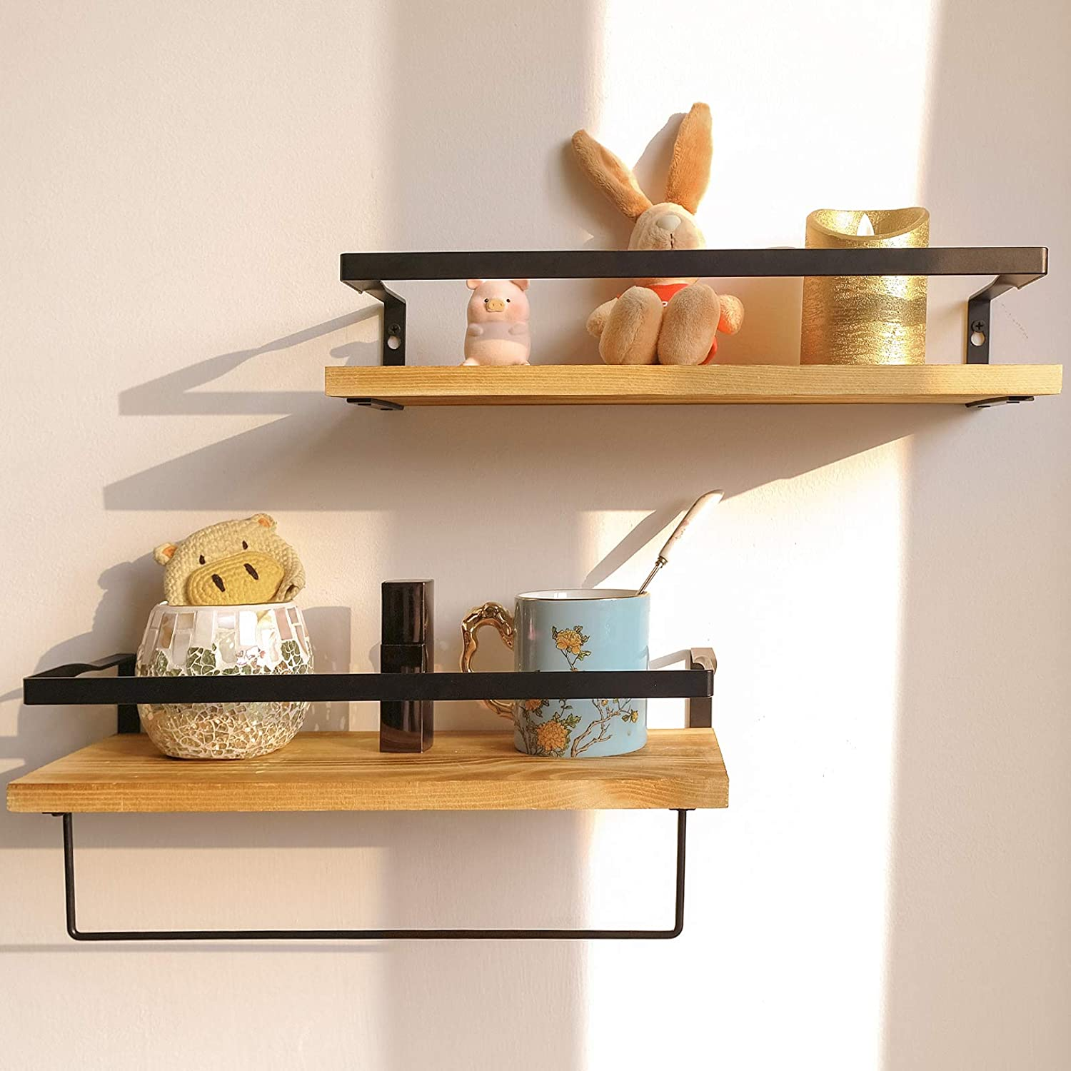 Mahomme Vintage Wall Wood Floating Max 79% All stores are sold OFF Brown Pi Real Nature Shelves