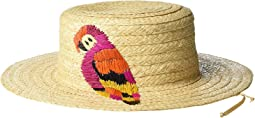 RHM6201 - Raffia Boater with Parrot Embroidery in Raffia