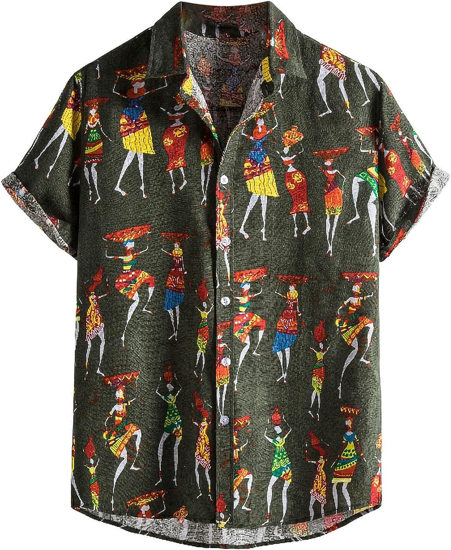 Mens Hawaiian Shirts Casual Button Down Short Sleeve Beach Shirt Summer Tropical Print Front Pocket Aloha Shirts