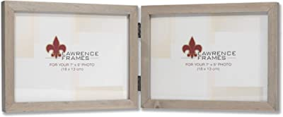 Lawrence Frames 5x7 Hinged Double (Horizontal) Gray Wood Gallery Collection Picture Frame, 7x5D