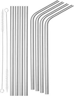 """SipWell 8.5"""" 9.5mm Bent/Straight Wide Stainless Steel Drinking Straws, 8-Pack – BPA Free & Dishwasher Safe Straws w/Cleaning Brush - Perfect for Smoothies & Cold Beverages"""