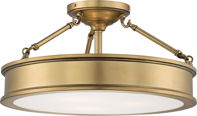 Amazon Com Minka Lavery Semi Flush Mount Ceiling Light 4177 249 Harbour Point Glass Lighting Fixture 3 Light Liberty Gold Home Improvement