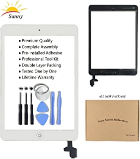 White iPad Mini Model A1432 A1454 A1455 A1489 A1490 Glass Replacement Digitizer Replacement Screen Replacement Full Digitizer Glass Assembly Kits Includes Adhesive Stickers and Professional Tools
