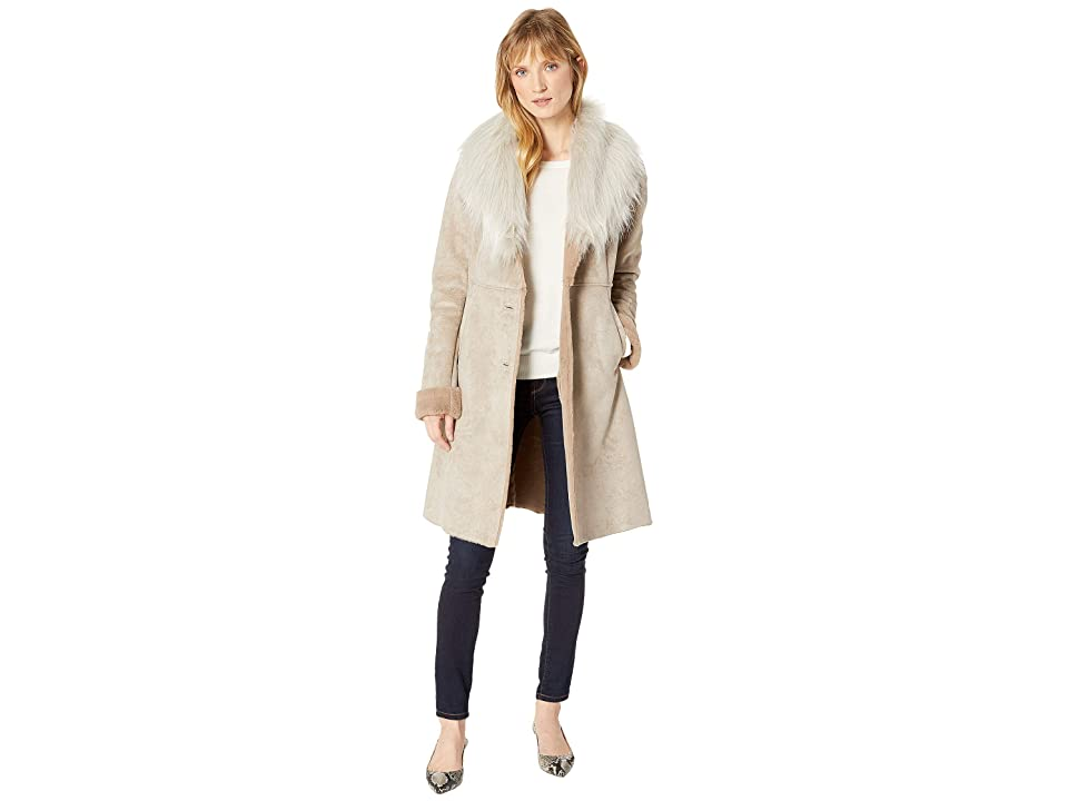 Via Spiga - Via Spiga Faux Shearling Cozy Shawl Collar Button Down Coat