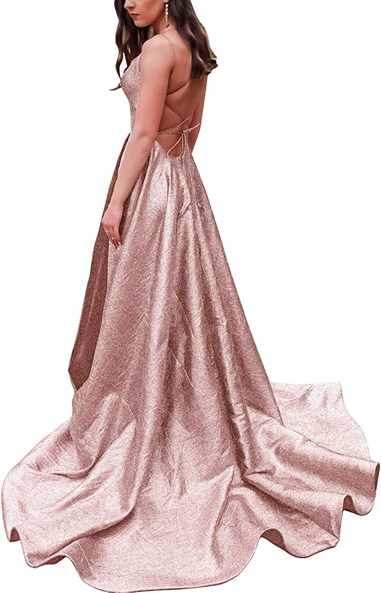 JASY Women's Financial sales sale Spaghetti Glitter Long Prom Backless Dresses P Ranking TOP7 with