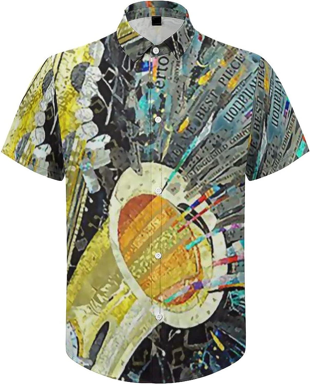Men's Short Sleeve Button Down Shirt Art Music Jazz Saxophone Summer Shirts