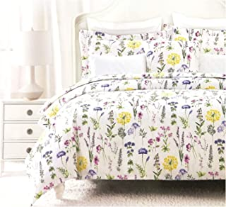 Nicole Miller Modern Farmhouse Bedding French Countryside Floral Toile Print Pure Cotton Duvet Quilt Cover Set Colorful Garden Wildflower Watercolor Illustration Vintage Flower (King, Multicolor)