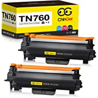 2-Pack TN760 Compatible Toner Cartridge for Brother Printers (Black)