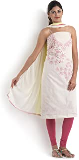 White & Pink Cotton Suit With Chikankari