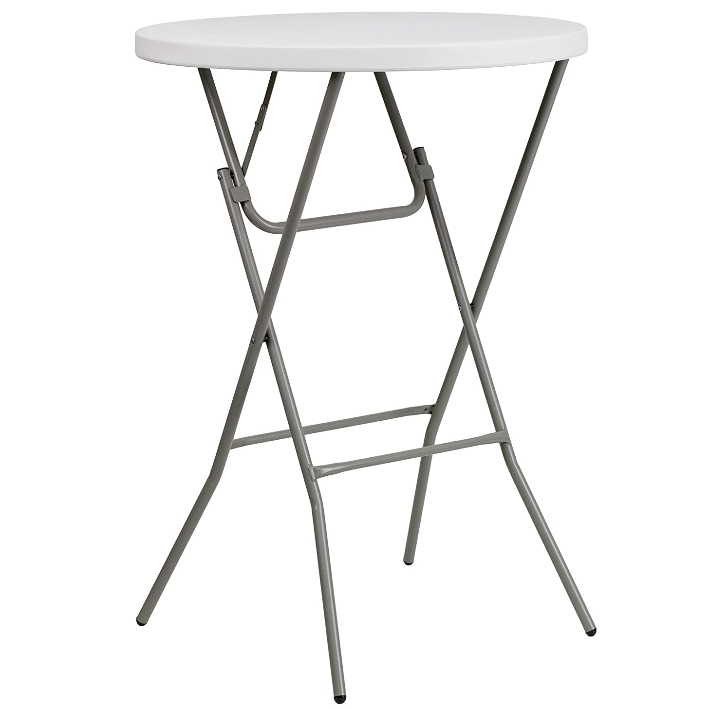 Flash Furniture 32'' Round Granite White Plastic Bar Height Folding Table