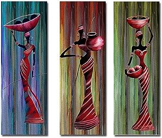 La Vie Tríptico Cuadro Sobre Lienzo Estirado en Marco Imagen de Mujer Africana 20x60cmx3 Piezas Pintura al óleo por Decoración del Hogar Salon Oficina Club Hotel Regalo
