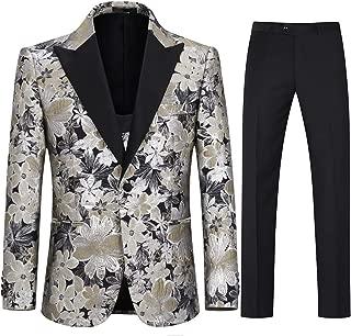 Mens 3 Piece Tuxedo Suits Jacquard Wedding Formal Wear Trouser