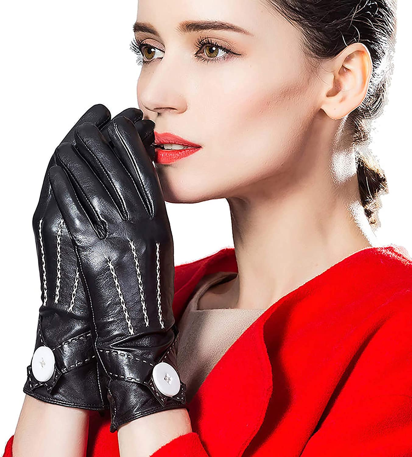 CosplayNow Women's Genuine Leather Cold Weather Driving Gloves Classic Black Outdoor Gloves