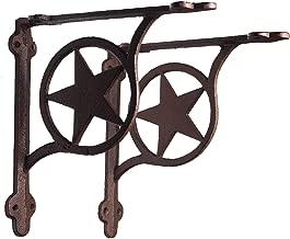 DRD&M Set of 2 Southern Metal Rustic Texas Lone Star Shelf Brackets Heavy Cast Iron 7.38 x 1.5 x 7.38-Inches CI134
