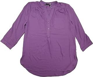 Ladies Size Large 3/4 Sleeve Sheer Blouse Plum