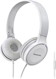 Panasonic On Ear Stereo Headphones RP-HF100M-W with Integrated Mic and Controller, Travel-Fold Design, Matte Finish, White