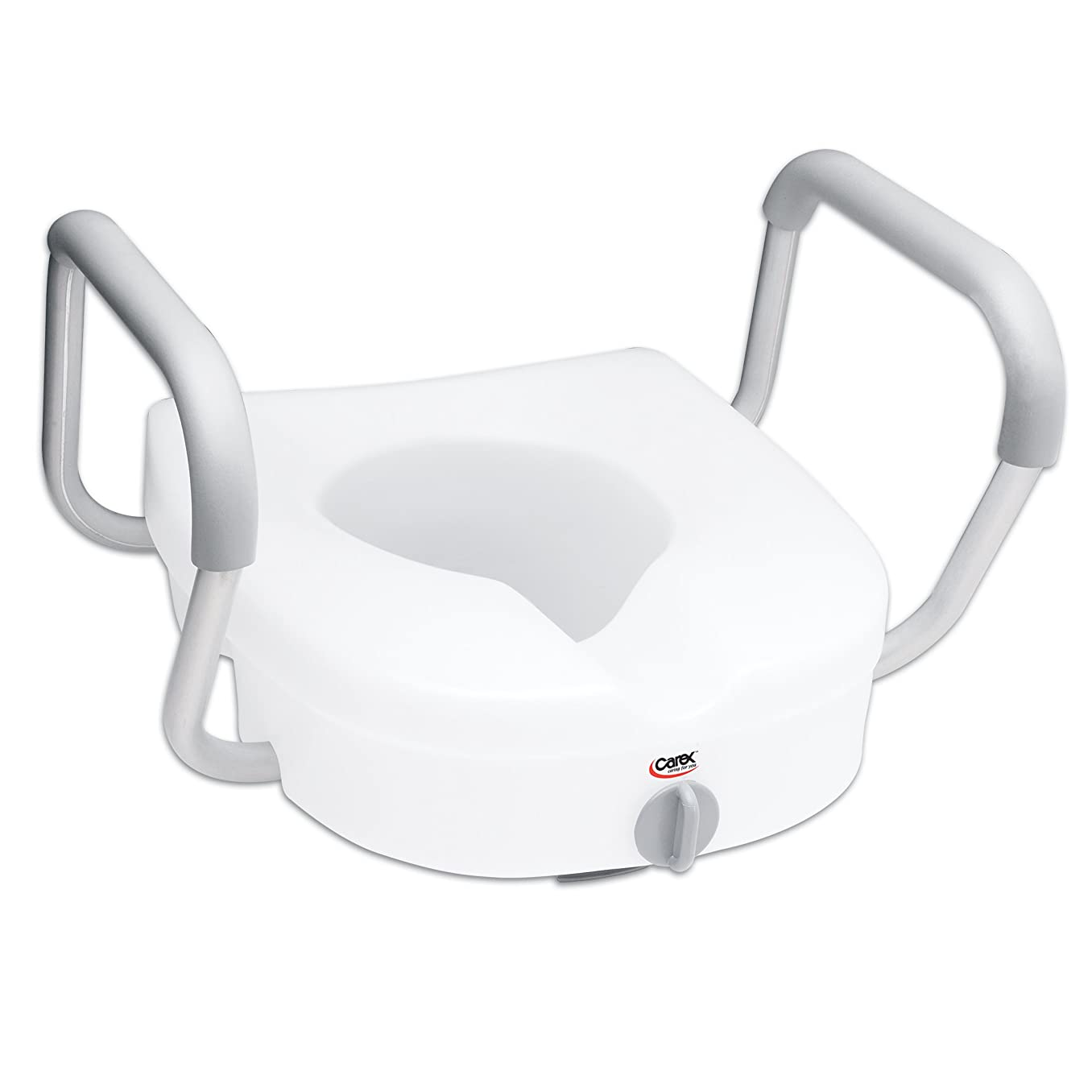 Carex E-Z Lock Raised Toilet Seat with Handles - 5 Inch Toilet Seat Riser with Arms - Fits Most Toilets