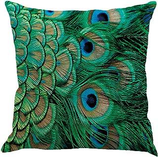 Qinqingo Colorful Peacock Feather Throw Pillow Case Cushion Cover Home Sofa Decor Pillowcases (PF#3)