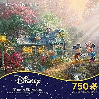 Ceaco Thomas Kinkade The Disney Collection Mickey and Minnie Sweetheart Bridge Jigsaw Puzzle, 750 Pieces