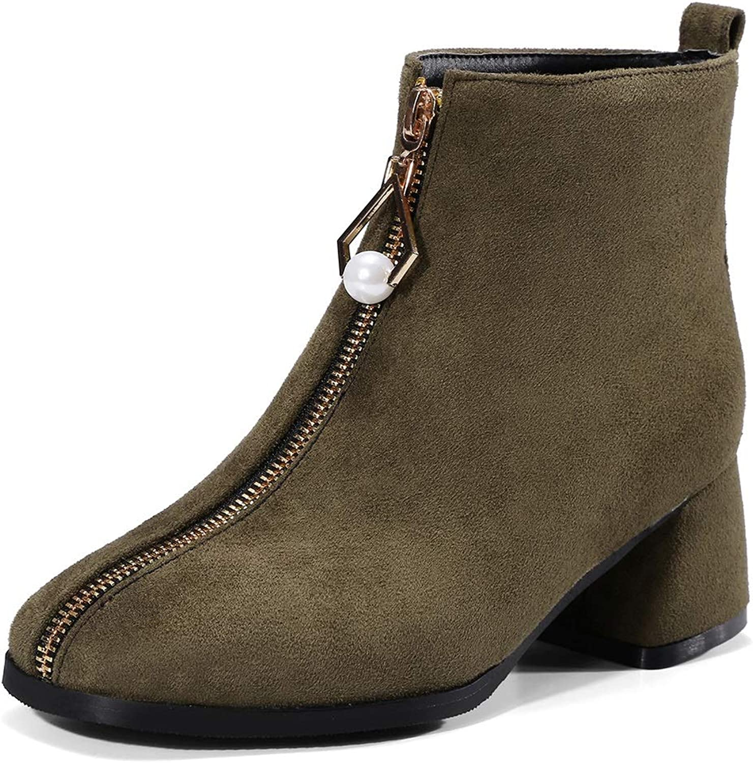 Ladies Booties, Fall Winter New Thick Heel Chelsea Boots Retro Temperament Zipper Women's Fashion Boots Green Black Khaki (color   C, Size   41)