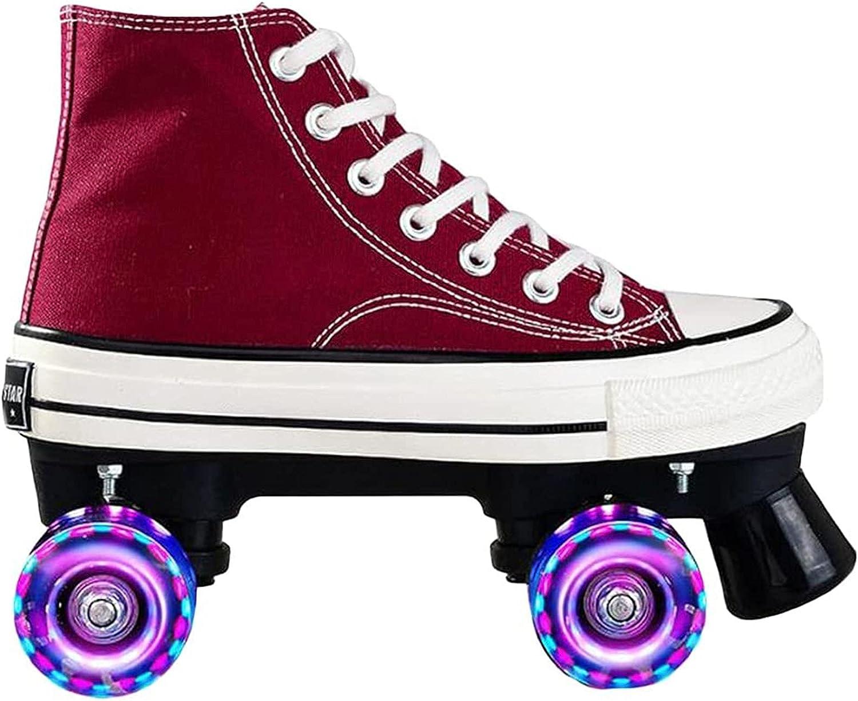 Four-wheel Canvas Roller Skates Double-row Red Super-cheap Choice S