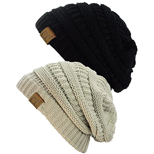 dfc9a00a4037e9 C.C Trendy Warm Chunky Soft Stretch Cable Knit Beanie Skully, 2 Pack