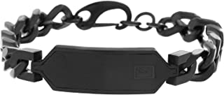 Ben Sherman Men's Curb Chain Bracelet with Black Faux Leather ID Plate in Black IP Stainless Steel