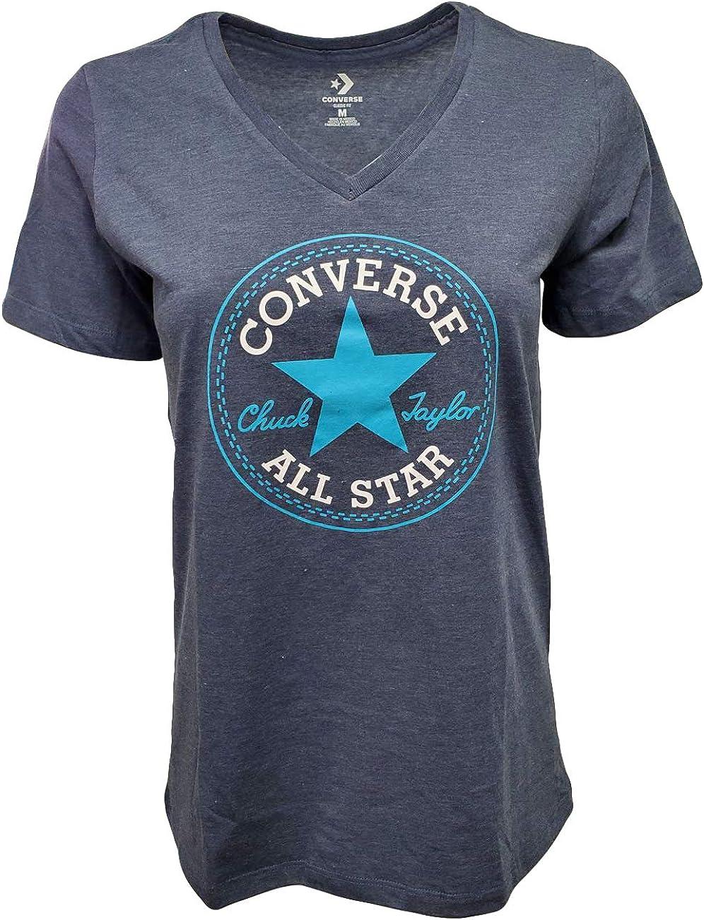Converse Women's Chuck Taylor Core Patch V-Neck T-Shirt Blue