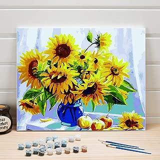 Pintura Pintura al óleo por números Flores de girasol DIY Acrílico para colorear Arte sobre lienzo Imágenes de pared para sala de estar Adultos Dibujo 40x50cm-Sin marco
