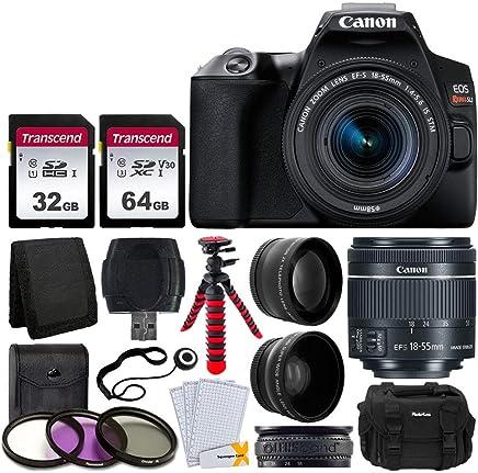 $659 » Canon EOS Rebel SL3 Digital SLR Camera (Black) + EF-S 18-55mm f/4-5.6 IS STM Lens + 58mm 2X Professional Telephoto & 58mm Wide Angle Lens + 32GB & 64GB Memory Card + Case + Tripod + 3 Piece Filter Kit