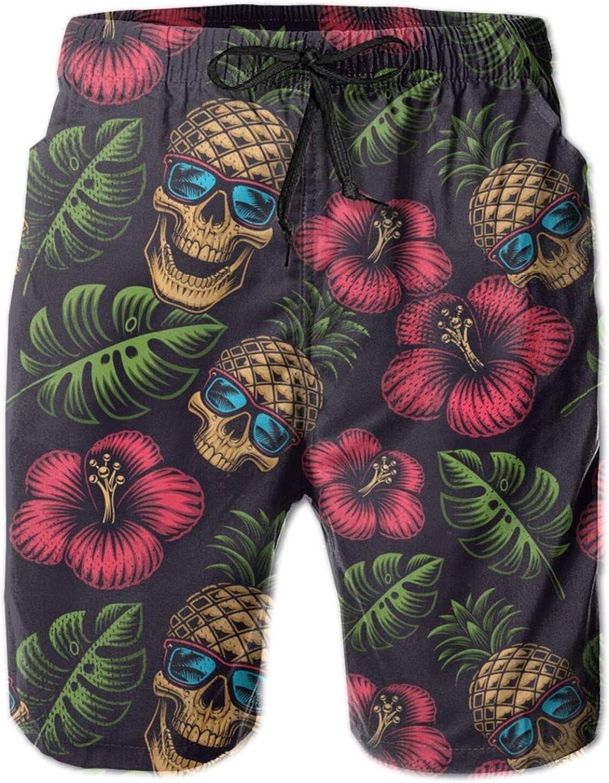 Jreergy Mens Beach Shorts Pineapple Skull Swim Trunks Quick Dry Swimwear