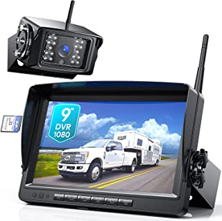 """$199 » Fookoo 1080P 9"""" Wireless Backup Camera System, 9"""" HD Dual/Quad Split Monitor with Recording, IP69 Waterproof Rear View Cam..."""