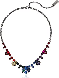 Steve Madden Womens Multistring Rainbow Rhinestone Statement Necklace