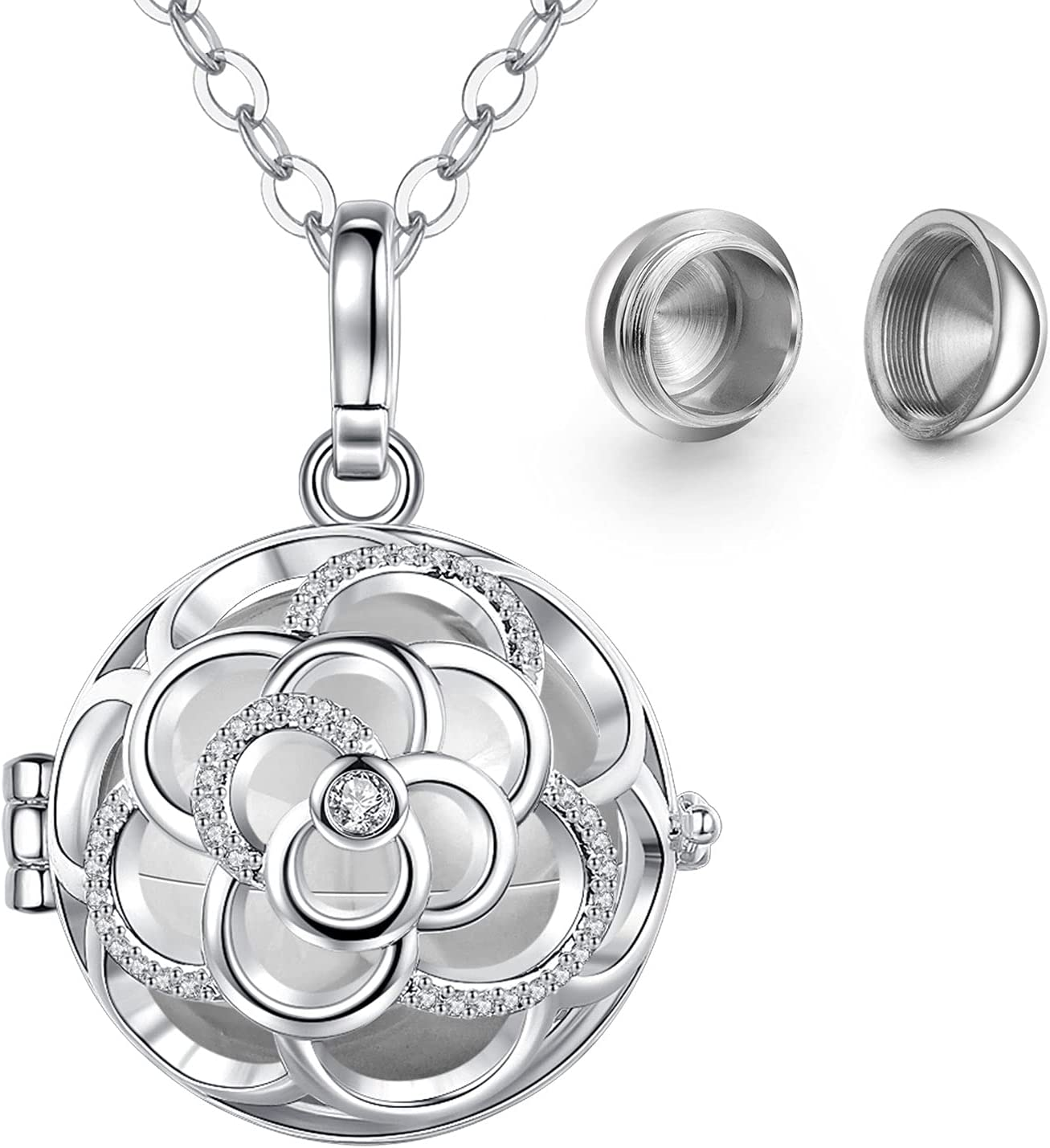 NFUSEU Dainty Urn Necklace for Ashes for Women Teen Girls, Pet Human Cremation Jewelry Memorial Keepsake Small Rose Flower Pendant and 24 Inch Chain
