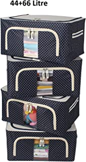 SKYFUN (LABEL) Foldable Steel Tip Based Cloths Saree Storage Transparent View Box Organizer (1, 44+66 Litre)