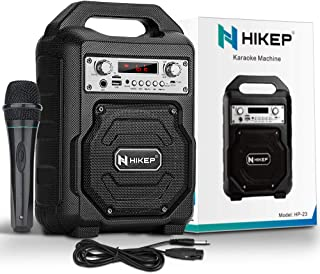HIKEP Portable Bluetooth Karaoke Machine, Wireless PA Speaker System Voice Amplifier with Handheld Microphone Perfect for ...