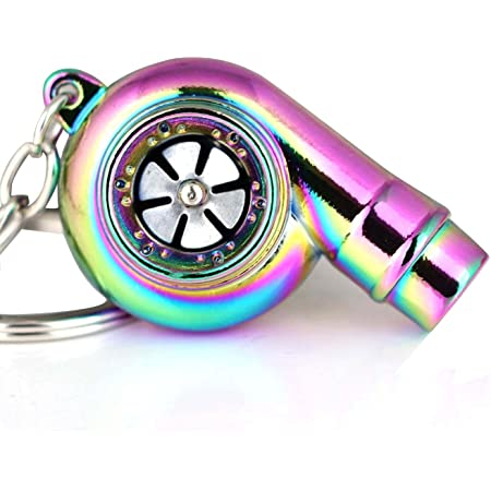 Blue Portable Spinning Turbo Turbine Key·Ring Keychain Ring Keyring Keyfob JDM