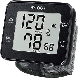 Hylogy - Medidor de presión de muñeca digital, medidor de presión de muñeca y pulsación, detección automática, gran pantalla LCD, 180 posiciones de memoria