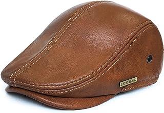 a2f05262124 LETHMIK Flat Cap Cabby Hat Genuine Leather Vintage Newsboy Cap Ivy Driving  Cap