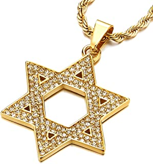 Mens Women Large Star-of-David Pendant Necklace with Cubic Zirconia, Stainless Steel